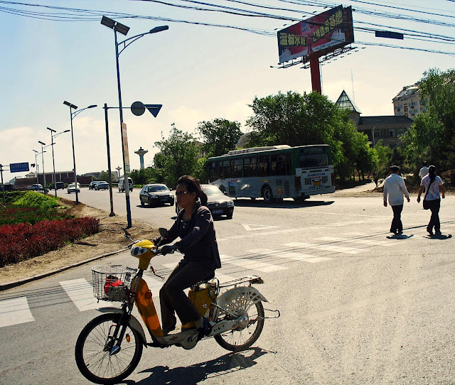 road crossing with two-wheeler in Beijing