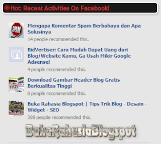 Pasang Facebook Activity Feed Blog.