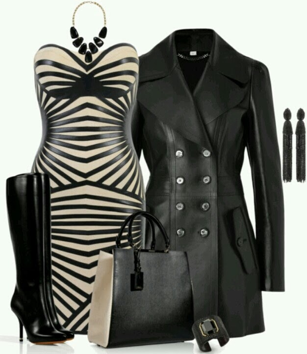 Attractive, Black Patterned Mini Dress with Leather Modern Coat, Long Heeled Stylish Boots, Adorable Handbag and Accessories