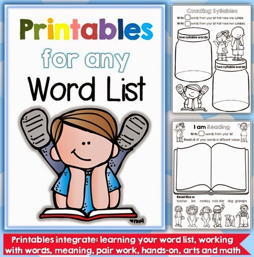 Printables for any Word List K-1