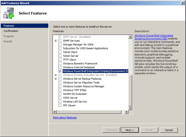 powershell ise windows 2008 r2 install