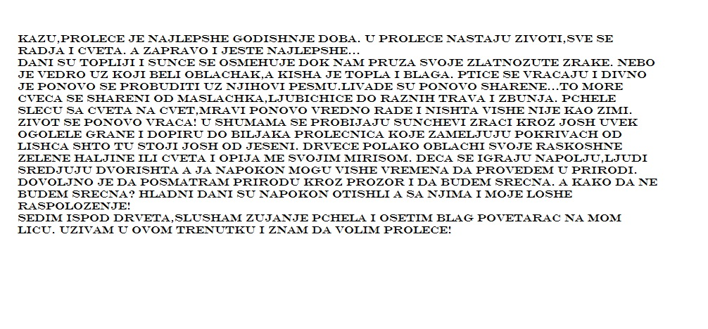 PROLECE I MOJA OSECANJA  Sastav - Pismeni Sastav iz srpskog
