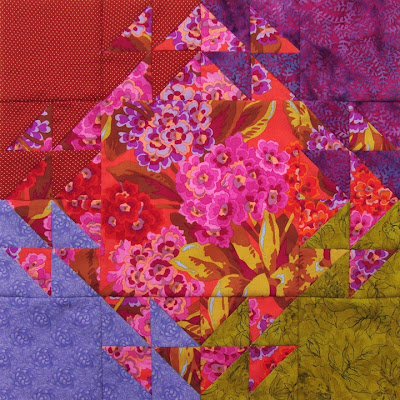 Robin Atkins, shimmer quilt, completed block