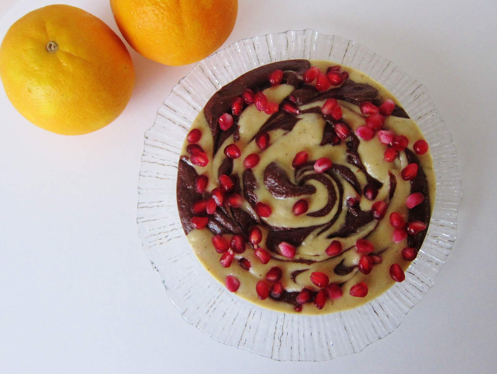 Fragrant Vanilla Cake: Chocolate Orange Swirled Pomegranate Cheesecake