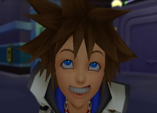 Sora Kingdom Hearts fake smile screenshot