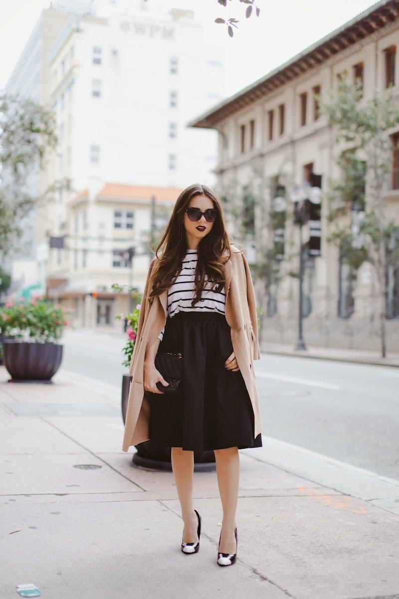 miami fashion blogger, fashion blogger, nany's klozet, daniela ramirez, parisian inspired, midi skirt, camel cape, cat eye sunglasses, striped top