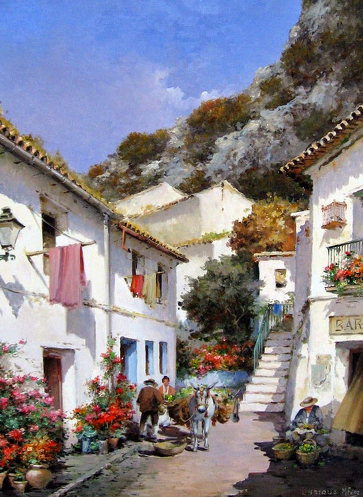 calle-con-flores-pintura-al-oleo