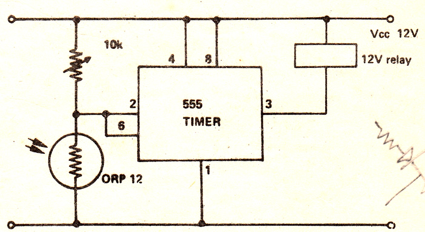 This circuit shows a 555 with its trigger and threshold inputs connected together used to energize a relay when the...