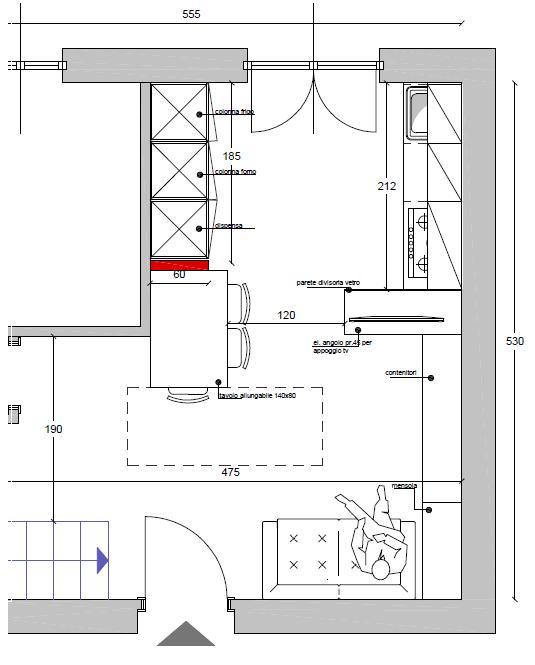 Cucina con isola misure dimensione with cucina con isola - Dimensione mobili ...