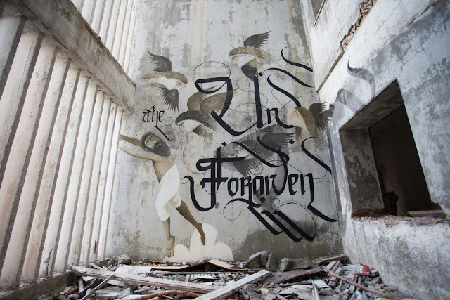 Street Art By Fikos Antonios and Simon Silaidis in the abandoned Sanatorium of mount Parnitha - Athens, Greece. 1
