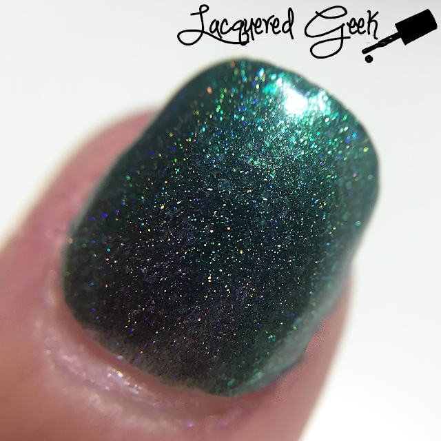 Love, Angeline Emeralds are a Girl's Best Friend nail polish swatch macro by Lacquered Geek