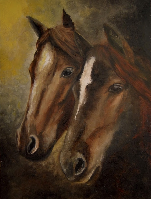 oil painting of two ponies