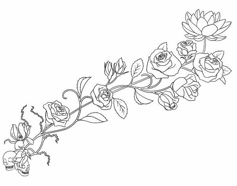 Roses and skulls tattoo stencil