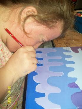 Marce pintando el ultimo cuadro del 2012