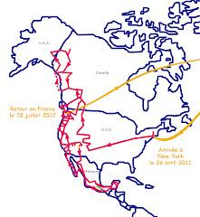 L'itinéraire en Amérique du Nord d'avril 2011 à juillet 2012