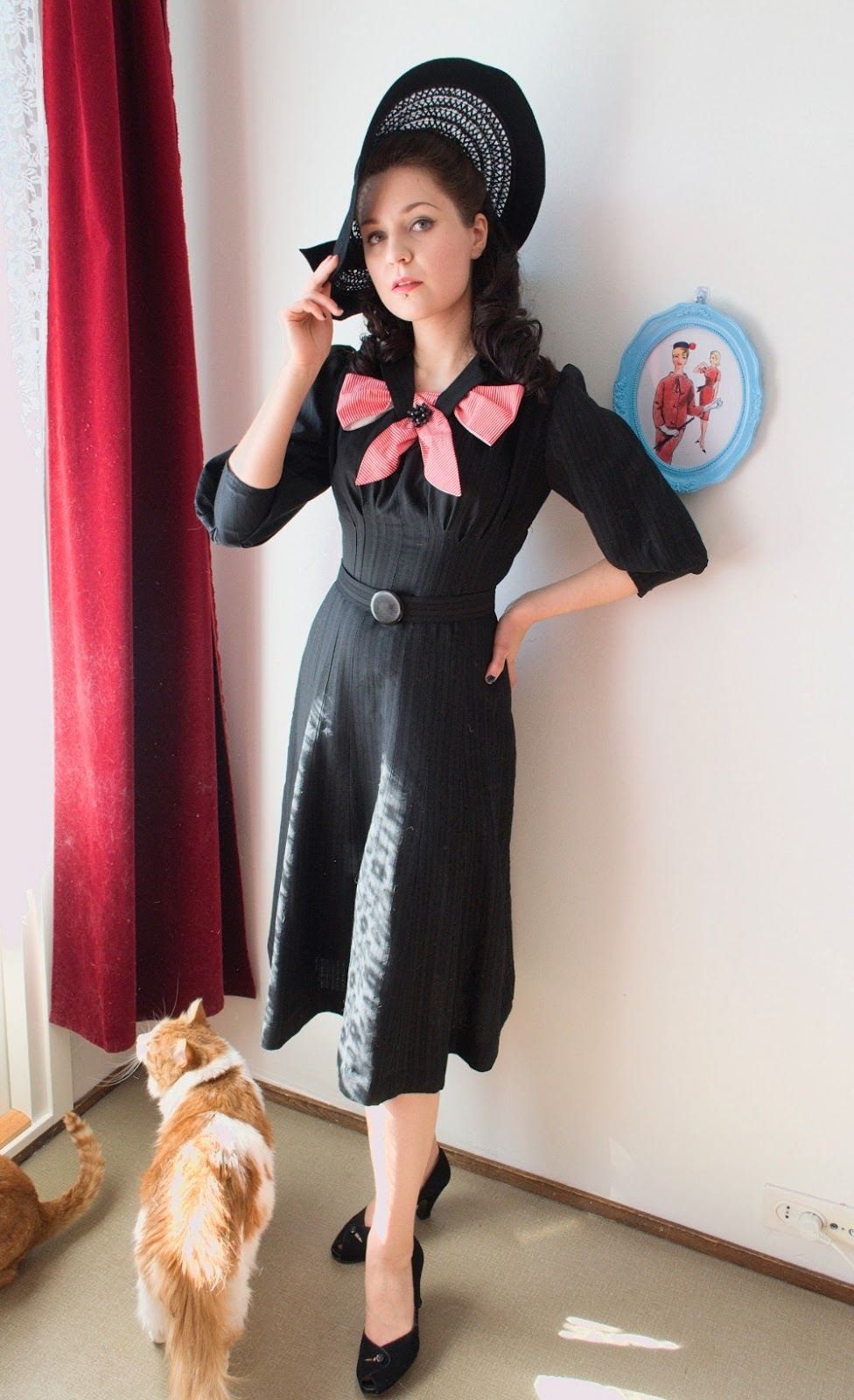 Black wool 40s reproduction dress at VintageFollies