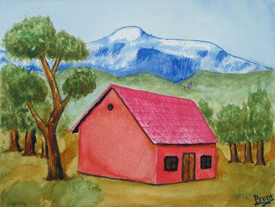 Beginner's Painting of a House Landscape