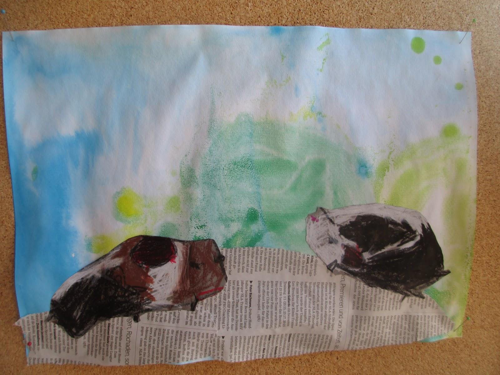kindergartenkinder zeichnen Meerschweinchen
