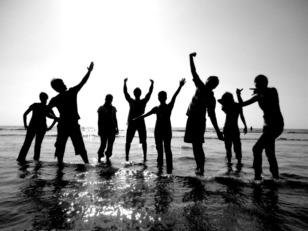Friends on Beach black and white Photography