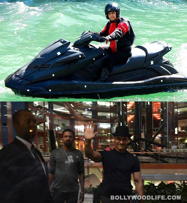 Aamir Khan rides water scooter in Dhoom 3Aamir Khan In Dhoom 3 Sets