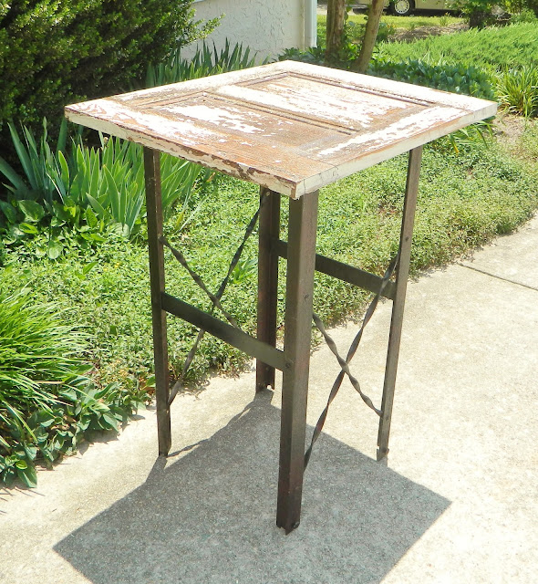 antique door repurposed into cocktail table