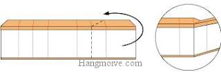 Bước 11: Gấp cạnh giấy về phía mặt đằng sau sao cho tạo thành góc vuông