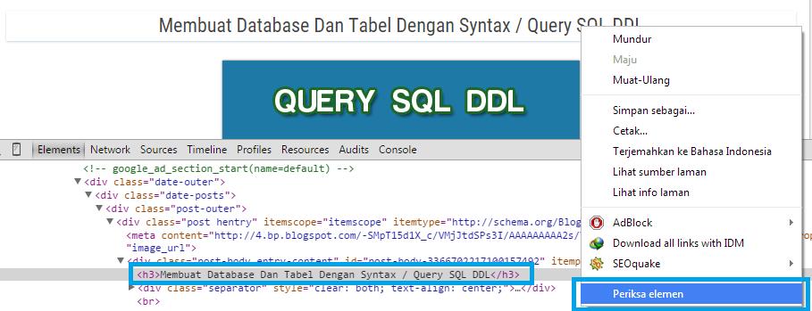 Inspect Element judul postingan dan temukan kode header yang digunakan