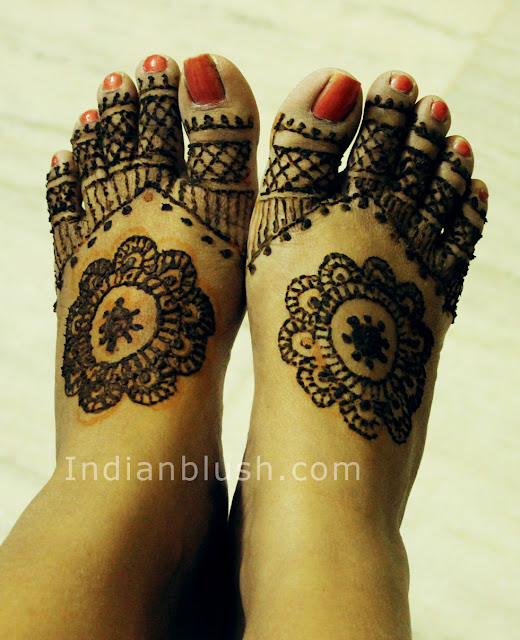 Wedding  or Festive Mahendi Design for Feet