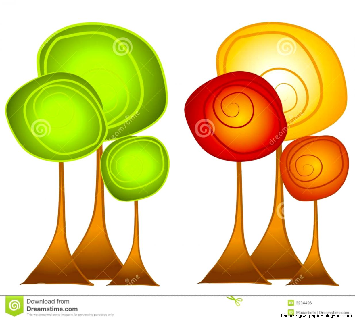 Fall And Summer Trees Clip Art Royalty Free Stock Image   Image