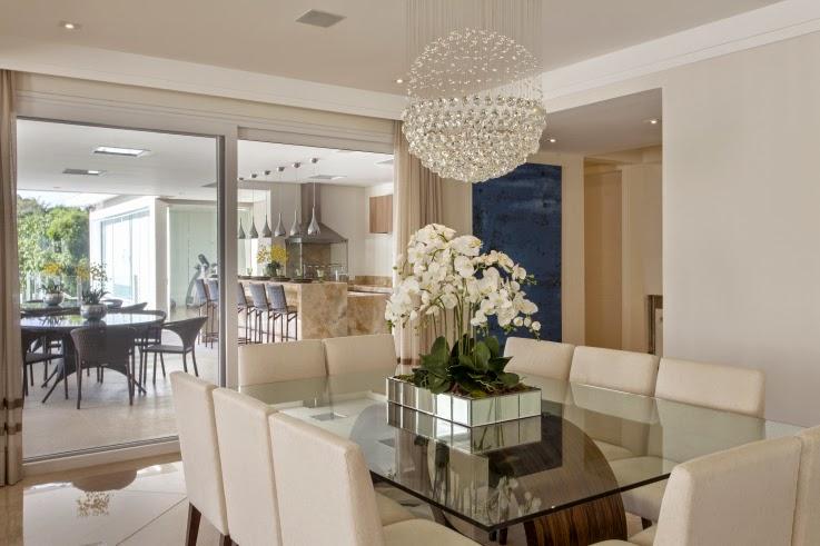 Sala De Tv Na Sacada ~ Sala de jantar com cores neutras integrada a varanda gourmet