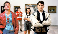Ferris Buller, Tyler Durden, Simone, and Cameron in an Art Gallery