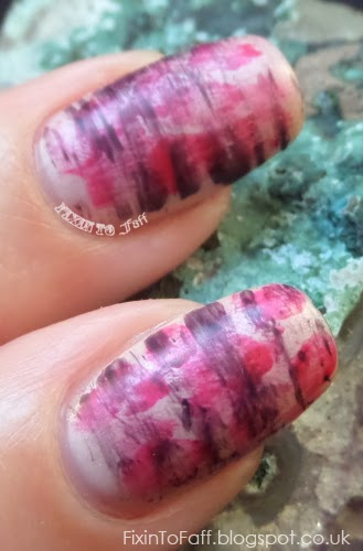 Abstract floral stripey nail art with Downton Abbey polishes