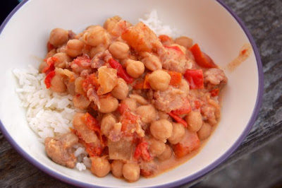 Slightly-Spicy Potato, Cauliflower, and Garbanzo Bean Curry
