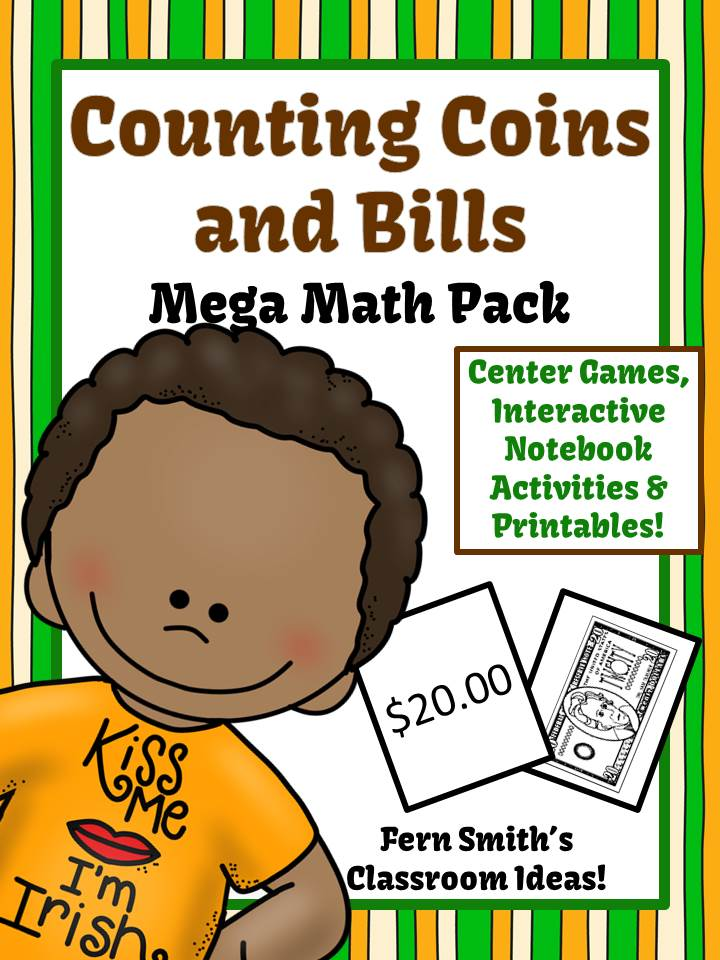 Discounted Bundle St. Patrick's Day Counting Coins and Bills Mega Math Pack With Two FREEBIES!