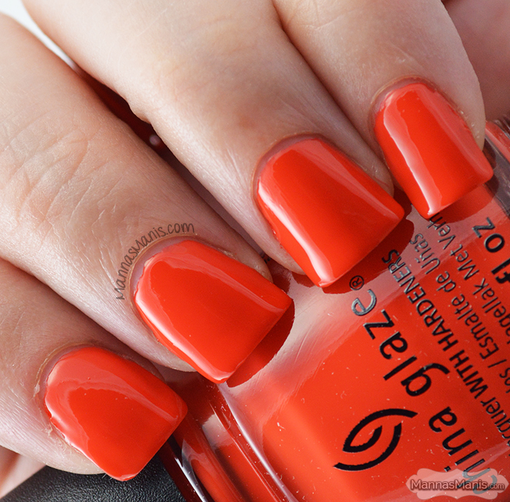 China Glaze Road Trip Pop the Trunk, a bright orange creme nail polish