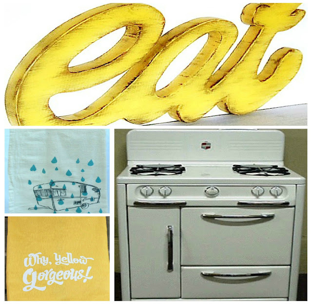 wooden eat sign vintage trailer dishtowels retro 1950s stove oven kitchen Just Peachy, Darling