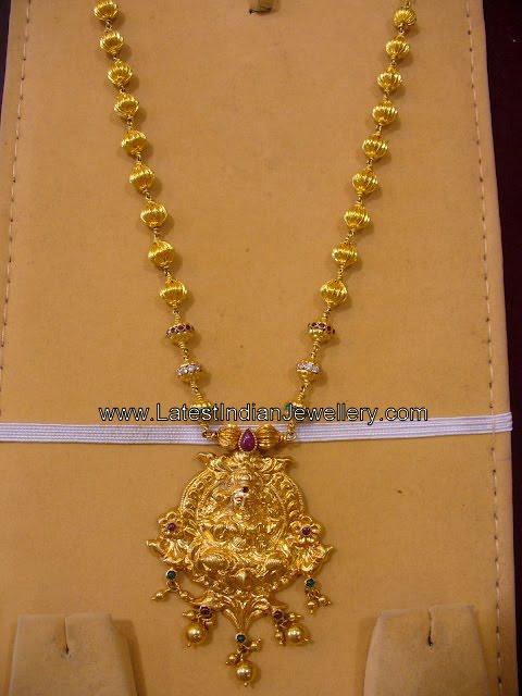 Gold Temple Jewellery With Lakshmi Pendant
