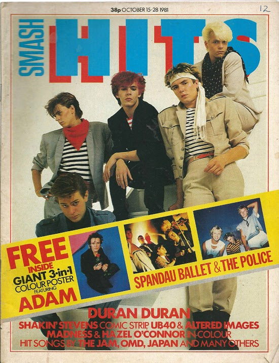 Duran Duran on the cover of Smash Hits in October 1981