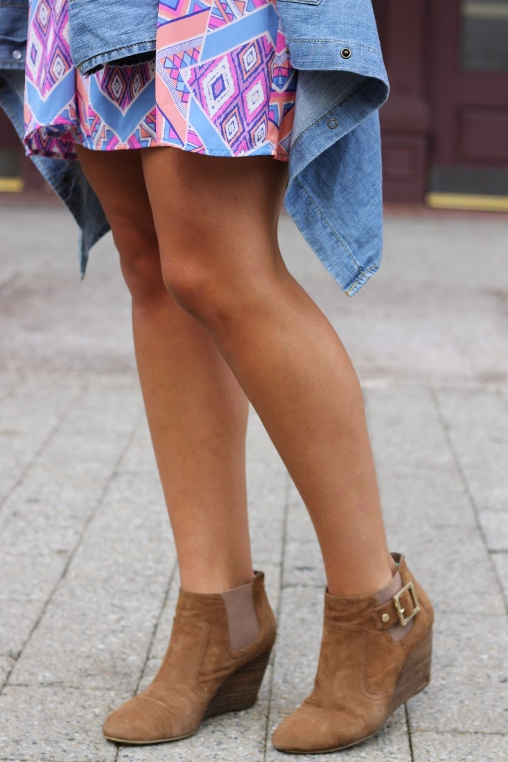 brown suede ankle wedge booties with buckle