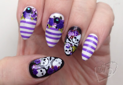 Halloween Nail Skull roses skeleton stripes Design Art Born Pretty Stamping Polish Purple Image Plate BP-L006