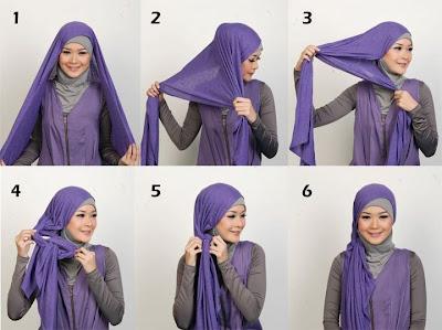 Gambar Cara Memakai Jilbab Pasmina Kaos