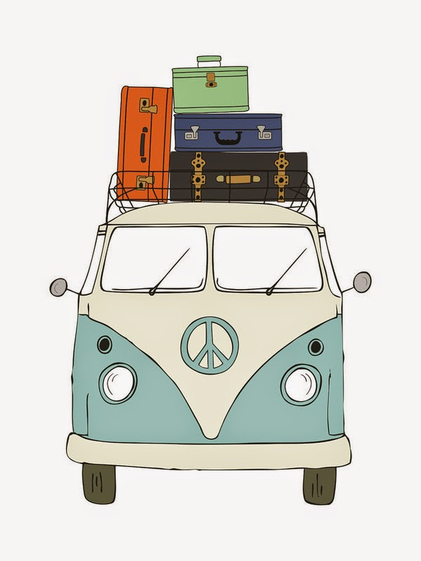 Minted art VW Van with suitcases light blue