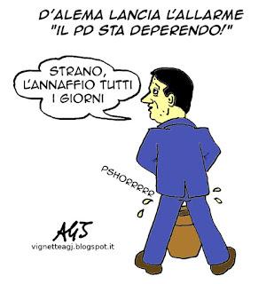 D'Alema, Renzi, PD, vignetta satira