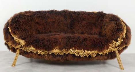 brown furry Mongolian Lamb Anhanguera sofa couch