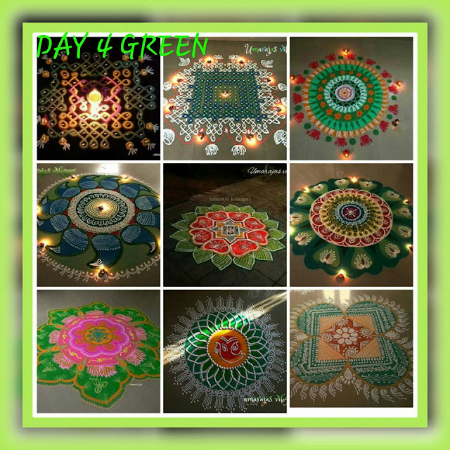 Navaratri Rangoli Day 4 - Green