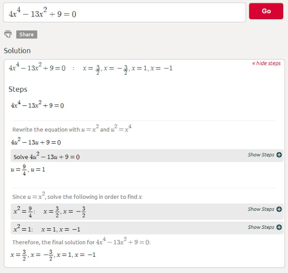 Symbolab Blog High School Math Solutions Biquadratic Equation