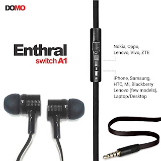 Buy DOMO Enthral Switch A1 Earphone Headset With Microphone – Black at Rs. 189 only