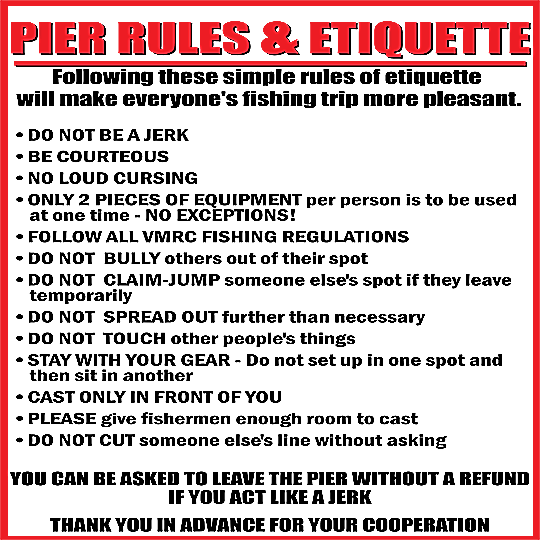 Lynnhaven fishing pier pier rules etiquette for Virginia out of state fishing license