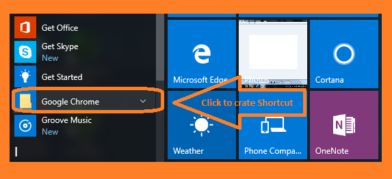 Create a shortcut in windows 10