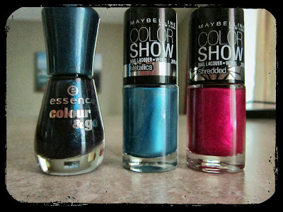 Essence Miss Universe, Maybelline Blue Blowout, and Maybelline Magenta Mirage